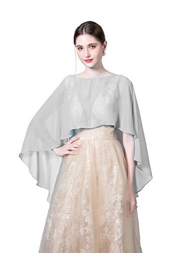 - Baiqiya Wedding Capes Womens Soft Chiffon Shrug Bridal Long Shawl and Wraps, Silver Grey