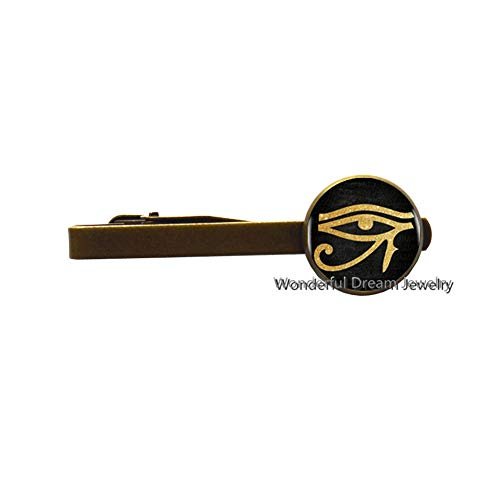 Ancient Egyptian Eye Symbol Tie Pin Glass Tie Clip Women Dress Accessories,Student Gift,Egyptian Tie Clip,Protection Tie Pin,PU139 (Brass)