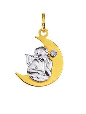 ANGE LUNE - Médaille Religieuse - Or 9 carats - Hauteur: 20 mm - www.diamants-perles.com