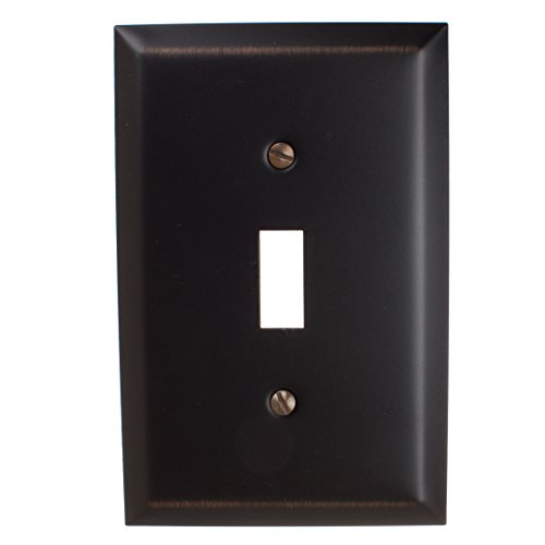 GlideRite Hardware Wall Plate Cover for Single Toggle Switch – Steel 1-Gang Square Beveled Receptacle for Kitchen, Bath or Living Room (Single Toggle, Oil Rubbed Bronze) ()