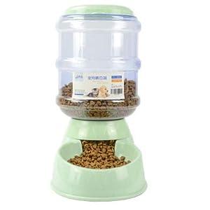 DaKos Pet Feeder Food Dispenser Station – Replenish Pet Food for Dog Cat Animal Automatic Gravity Dry Food Storage Bottle Bowl Dish Stand (Green)