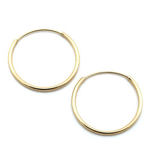 14k Yellow Gold 18 mm Endless Hoop Earrings by Beauniq