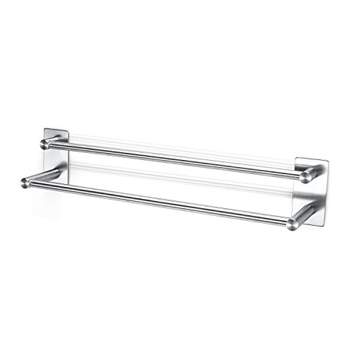 Glotoch Express Self Adhesive 29-inch Bathroom Towel Bar Brushed SUS 304 Stainless Steel Bath Wall Shelf Rack Hanging Towel Stick On Sticky Hanger Contemporary Style (Double Towel Bar) by Glotoch Express