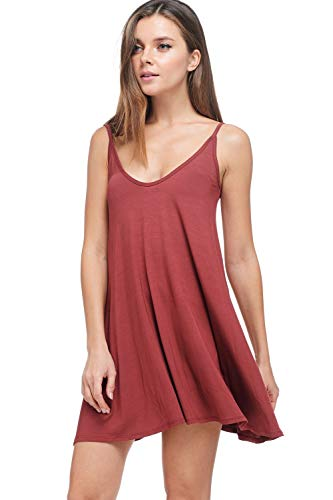 Womens Modal Halter Tank Dress - Casual Knit Swing Tunic (Marsala, Large)