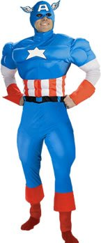 [Captain America Costume (Size: X-Large 42-46)] (Captain America Costumes For Adults)