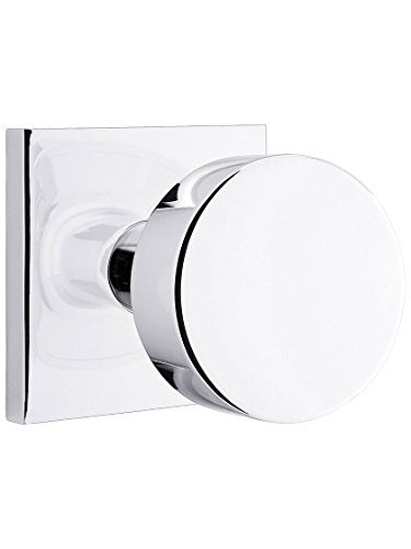 Classic Rosette Chrome Polished (Square Rosette Door Set with Disc Knobs Privacy in Polished Chrome)