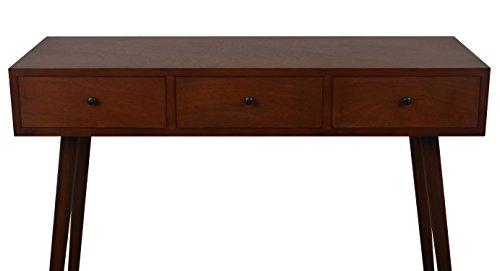 Décor Therapy Mid Century Three Drawer Wood Console Table, Light Walnut