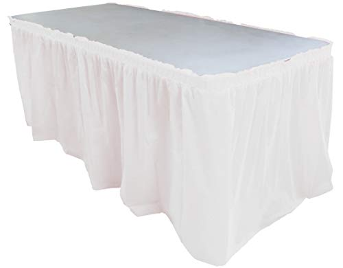 Exquisite Solid Color 14 Ft. Plastic Tablecloth Skirt, Disposable Plastic Tableskirts - White - 6 Count]()