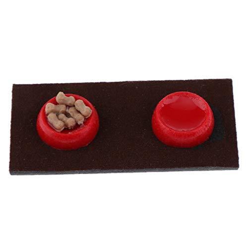 NATFUR 1:12 Scale Resin Dog Bowl Dolls House Miniature Landscape Pet Food Accessory