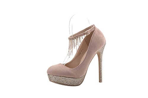 Mila Lady (ELVA08) Women Fashion Embellished Sparkles Party Pumps High Heel Stilettos Sexy Rhinstone Ankle StrapDress Shoes , PINK8