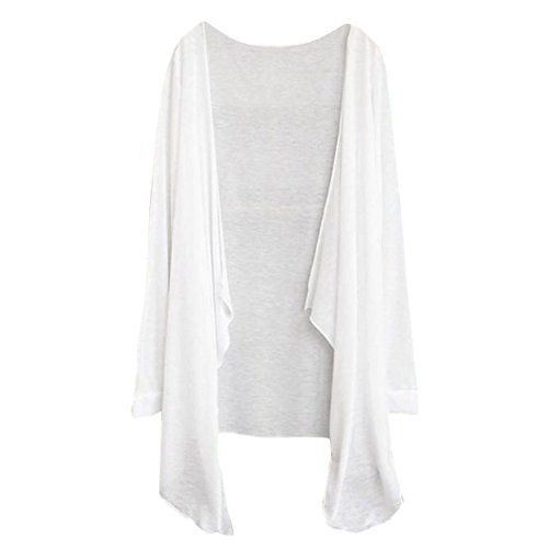 Price comparison product image Tloowy Clearance! Women Spring Summer Loose Fit Kimono Cardigan Long Sleeve Shawl Beach Cover up Tops (White,  Free Size)