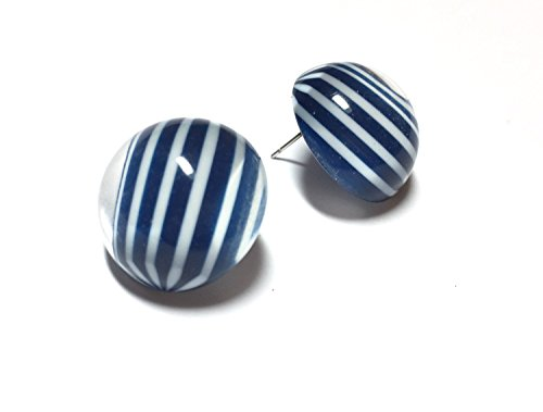 - Blue Stud Earrings | Navy Blue Striped Retro Button Studs Earrings | nautical preppy vintage lucite posts