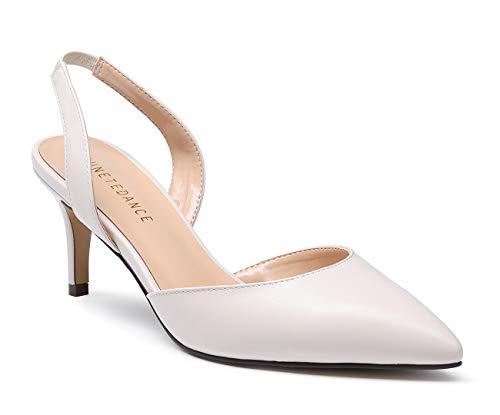 (SUNETEDANCE Women's Slingback Pumps Pointed Toe Kitten Heels Slip On Stiletto Sandals Ankle Strap Shoes 6CM Heels Pu Creamy Pump 10 M US)