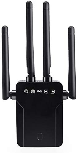 WiFi Repeater 1200Mbps, Whew Wireless Signal Booster, Dual Band 2.4G and 5G Expander, 4 Antennas Range Extender | One Button Setup with 2 Ethernet Port (Black)