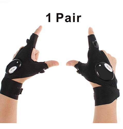 STORM GYRD Cool Fingerless LED Flashlight Gloves for Repairing,Working in Darkness Places, Fishing, Camping, Hiking and Outdoor Activities -
