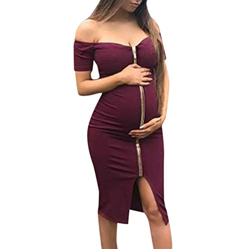 - LYN Star ◈ Women's Maternity High Waisted Fold Over Maxi Skirt Knee Length Midi Maternity Dress with Front Pleat Wine