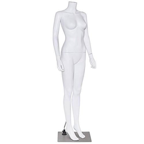 Headless Mannequin (Giantex Headless Female Mannequin Stand Durable Plastic Dress Form Display Standing Pose, Skin White)