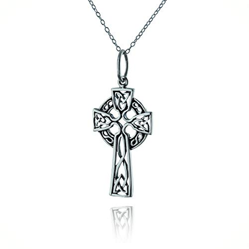 Celtic Knot Cross Statement Chunky Pendant Rhinestone Necklace for Women Silver Faith Christian Trinity Gift