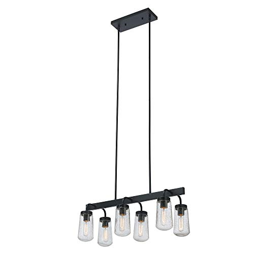 Globe Electric 44243 Tyson Outdoor/Indoor 6-Light Chandelier, Matte Black with Clear Seeded Glass Shades