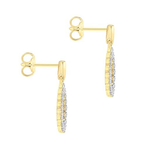 Pave Prive femme  9carats (375/1000)  Or jaune #Gold Rond   Transparent Diamant