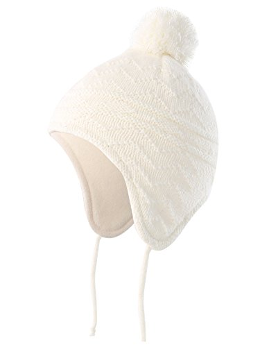 Connectyle Baby Boys Kids Warm Beanie Hat with Earflaps Knit Winter Cap S White