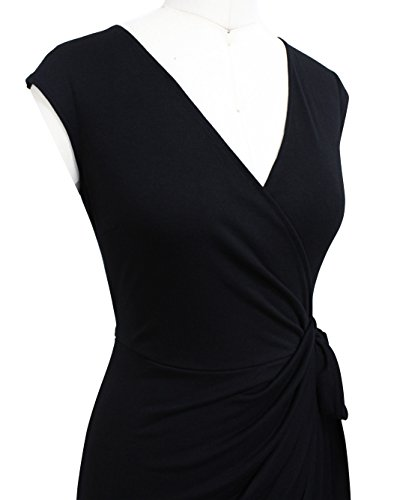 Berydress black Faux Sheath V Dress 6028 Work Party Women's Wrap Black Neck Casual Vintage qWHZqO4