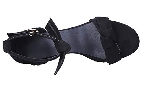 Cuir Talon Boucle Noir AgooLar Femme d'orteil à Ouverture Correct Sandales PU qnBR1xX0Sw