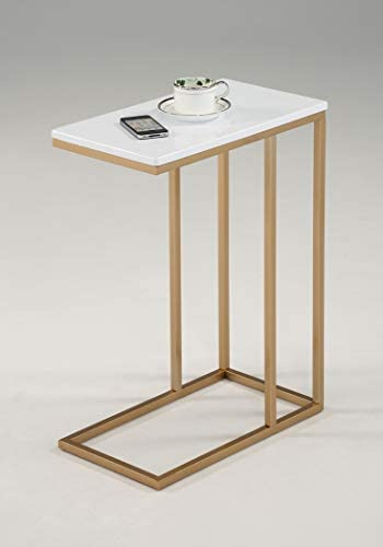 White and Gold Finish Side Snack End Table