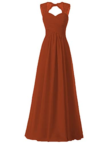 Chiffon Formal Pleated Burnt Long orange Strap Quality Dresses Lace Illusion Bridesmaid Dress Ywx80TqF