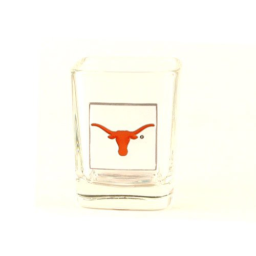 Texas Longhorns NCAA Licensed Square Plate Glass Shot Glass (2 - Shot Longhorns Glass Texas Square