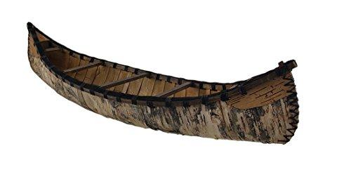 Zeckos 60 in. Decorative Rustic Birch Bark Wooden Canoe Statue