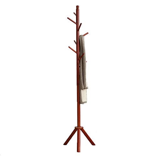 JIANFEI Floor Standing Coat Rack Hat Stand Hanger Single Pole Bearing Strong Triangular Chassis,Bamboo 3 Colors (Color : Honey Color, Size : 43x176cm) -