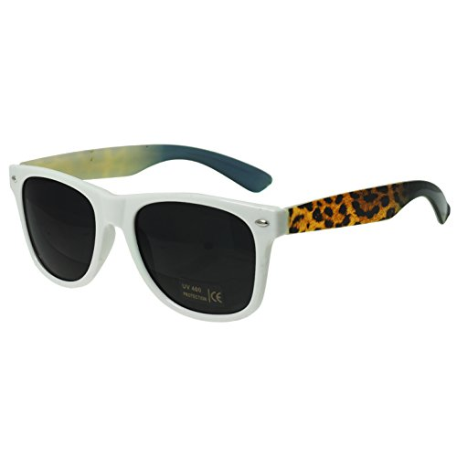 Oramics® Schwarze Retro Wayfarer Sonnenbrille Nerd Brille klar & schwarz (Weiß Leopard)