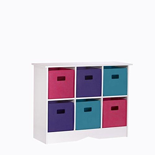 RiverRidge 6 Bins Storage Cabinet for Kids, White/Jewel