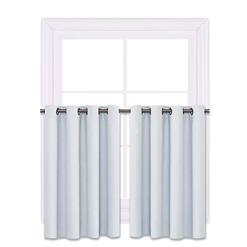 NICETOWN Grayish White Window Curtain Panels - Functional Thermal Insulated Eyelet Top Room Darkening Curtain Panels(Platinum=Greyish White, 2 Pieces Valances, W52 x L36 + 1.2