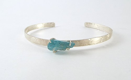 *DISCONTINUED* Raw Apatite 4 Prong Sterling Silver Open Bangle Cuff Bracelet - Discontinued Rose