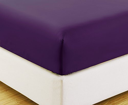 Twin XL size, PURPLE Solid Fitted Bed Sheet - Super Silky Soft - SALE - High Thread Count Brushed Microfiber - 1500 Series-Wrinkle, Fade, Stain Resistant, Deep Pockets, 100%
