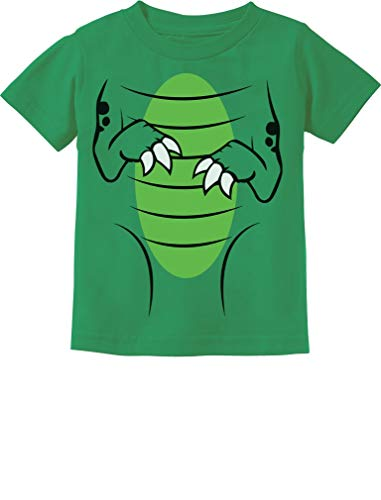 T-Rex Dinosaur Raptor Front Back Easy Halloween Costume Toddler Kids T-Shirt 4T Green -