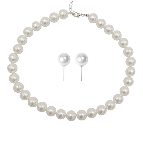 Femtindo Faux Pearl Necklace and Earring Set for Women Wedding Bridal Jewelry (12mm)