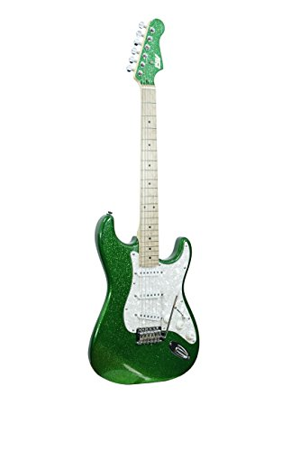 ivy IS-100 S.GR Strat Solid-Body Electric Guitar, Green Sparkle