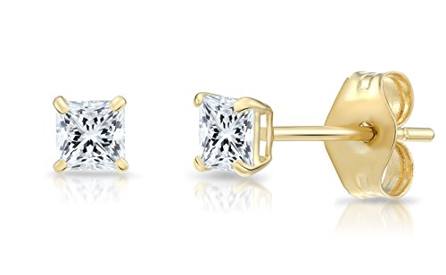 14k Yellow Gold Square Cubic Zirconia Princess-cut CZ Stud Earrings, Unisex (3mm, - Earrings Princess 3 Stone