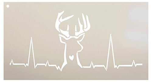 Deer Hunting Heartbeat Stencil by StudioR12 | Reusable Mylar Template | Fall Hunter Style - Use to Paint Wood Signs - Wall Art - Pallets - T-Shirts - DIY Home Decor - Select Size (13