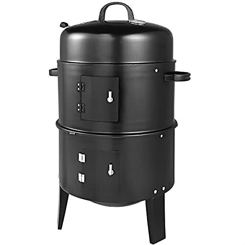 Deuba Smoker 3in1 Inkl. Thermometer Leichter Transport Räucherofen BBQ Rundgrill Holzkohlegrill Räuchertonne Grill