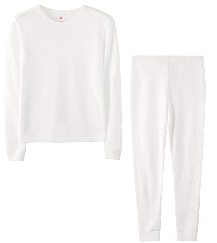 LAPASA Boys Thermal Underwear Long John Set Winter Base Layer Top and Bottom B03 (XS(Height 105-115cm), White (Waffle Knit))