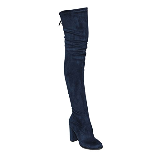 Beston GF58 Womens Drawstring Inside Zip Block Heel Snug Fit Thigh High Boots Navy onoHvW3u