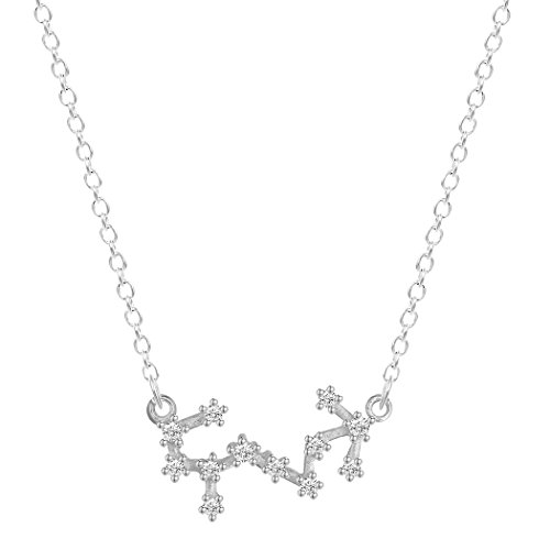 (CHUYUN 925 Sterling Silver Star Sign Rhinestone Crystal Necklace Pendants 12 Constellations Zodiac Horoscope Astrology Disc Necklace Jewelry Accessories (Scorpio))