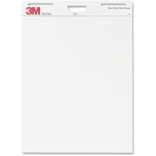 3M Flipchart, Plain, 40 Sheets/Pad, 25''x30'', 2/PK, White (570) by 3M
