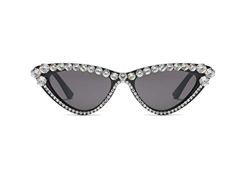 Vintage Retro Women Cateye Sunglasses Crystal Trim Jeweled Frame Costume Glasses (Black, ()