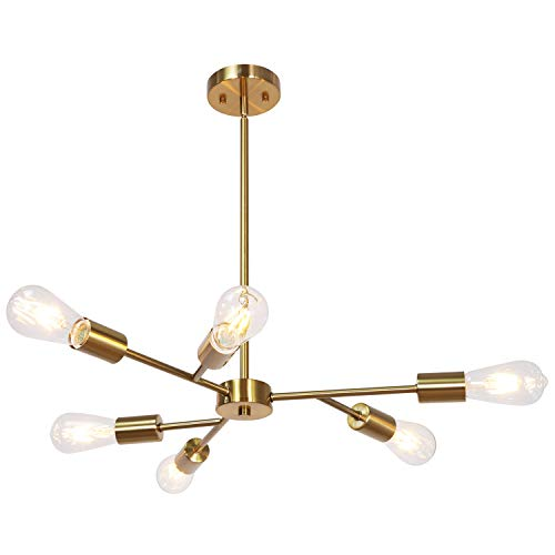 Lucidce Sputnik Chandelier Modern Metal Pendant Lighting Hanging Fixture Semi Flush Mount Ceiling Light with Brushed Brass Finish 6 Lights Flush Mount UL - Ceiling Light Six Halogen Pendant