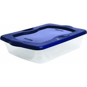 UPC 073527028659, Homz Clear Storage Box, 27 Quart, Blue Lid, Set of 8
